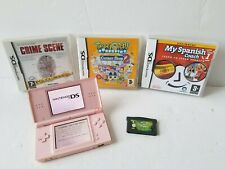 Nintendo DS Lite Coral Pink Console & 4 X Games Bundle *FULLY TESTED & WORKING*