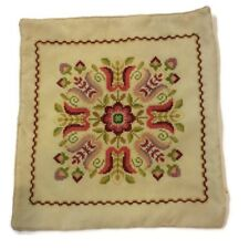 "Cross Stitch Zip Pillow Cover Pink Floral Design 17"" X 16"""