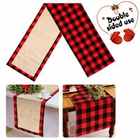 Cotton Burlap Buffalo Plaid Table Runner Reversible Red and Black Checkered Deco