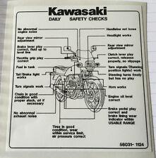 KAWASAKI GPZ550H DAILY SAFETY CHECKS CAUTION WARNING DECAL