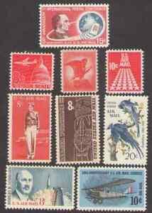 US. C64, C66, C67, C68, C69, C70, C71, C72, C74. Air Stamps  Lot of 9. Mint