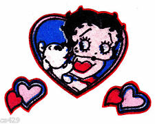 "2"" Betty boop dog pudge & heart fabric applique iron on character"