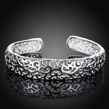 Fashion 925 Sterling Silver Bezel Hollow Cuff Bangle Open Bracelet Women Jewelry
