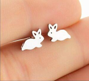 Bunny Rabbit Silver Earrings Studs Jewellery *UK*