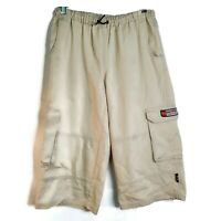 Easywear Utility Clothing Womens Cargo Shorts Size 9 Beige Elastic Waist Pockets