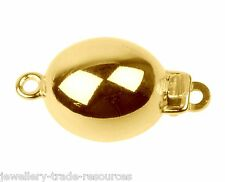10mm x 12mm 9ct YELLOW GOLD OVAL BEAD CLASP CATCH BRACELET OR NECKLACE