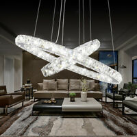 LED Crystal Ring Pendant Light Chandelier Lamp Ceiling Fixture DIY Home Decor