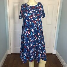 LulaRoe Carly Swing Dress Patriotic Stars And Stripes Balloons XS W/ Pocket