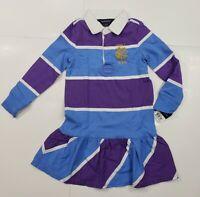 New with tag NWT Girls RALPH LAUREN Cornflower Blue Purple Long Sleeve Dress 3T