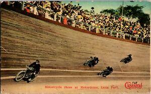 Rare Motorcycle Wooden Board Track Racing At Luna Park Coney Island NY B632