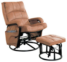 Brown Microfiber Glider Recliner With Ottoman By Coaster 650005