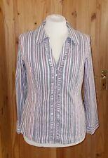 PER UNA grey pastel pink white stripe stretch long sleeve blouse shirt top 18 46
