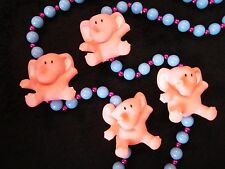 "COLORFUL ""PINK ELEPHANTS"" MARDI GRAS NECKLACE BEAD BABY BLUE - HOT PINK (B752)"