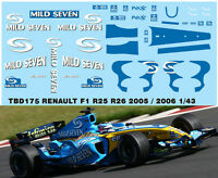 1/43 RENAULT F1 R25 R26 2005 2006 DECALS  TB DECAL TBD175