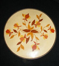 "Vintage Hall China Autumn Leaf Jewel T 7"" Round Hotpad Tin Back w Cardboard Top"