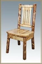 Log Dining Chair, Amish made Furniture, Lodge Cabin Style Kitchen Chairs