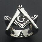 Free Mason Ring - Cut Out Symbol Freemasonry - Steel Silver Color Masonic Rings for sale