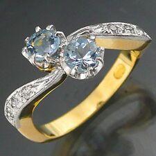Dressy Superior AQUAMARINE DIAMOND 18k Solid Yellow GOLD RING Val=$3365 Sz M1/2