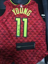 Panini Authentic Holo COA Trae Young Hawks Red Autograph Jersey signed Auto