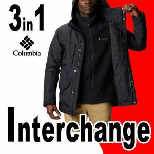 LIMITED MEN'S COLUMBIA MECAN PASS 3 IN 1 INTERCHANGE JACKET HOOD OMNI-TECH BLACK