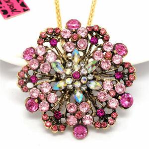 Lady Pink Rhinestone Wreath Flower Crystal Pendant Betsey Johnson Chain Necklace