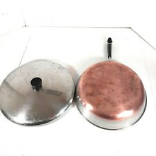 """Vintage Revere Ware 1801 USA Made 12"""" Frying Pan & Lid Stainless Steel Copper"""