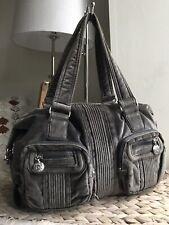 Kipling grey medium velvet handbag tote bag