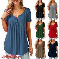 Fashion Women Button Down Neck Short Sleeve Top Ladies Summer Casual Loose Shirt