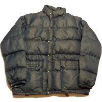 VTG 80s North Face Brown Label Blue Parka Puffer Down Jacket Coat Men Sz XL