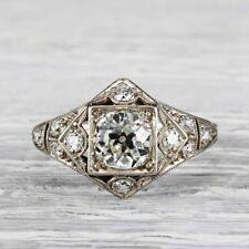2.05 Ct Round Cut Diamond Antique Art Deco Engagement Wedding Ring In 925 Silver