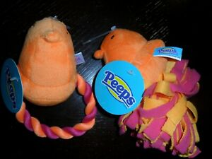 "2 PEEPS Plush ORANGE Chick  Dog Rope Toy 6""  Easter Dog Toys"