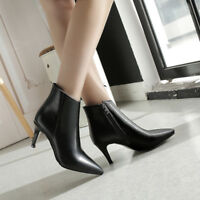 Womens Autumn Formal OL Court Ankle Boots Pointy Toe Mid Heels Zipper Shoes NEW