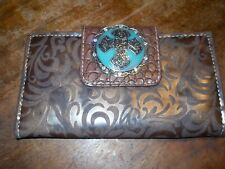 P&G Collection brown WESTERN Cowgirl Cross Wallet Turquoise & crystals