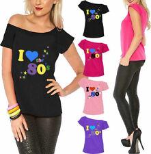 5b53df33 Ladies I Love The 80s T Shirt Short Sleeves Womens Retro Pop Star Top