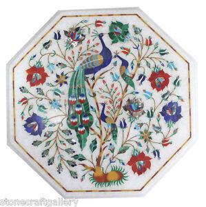 "12"" Marble Table Top Pietra dura stones Inlay Home Decorative"