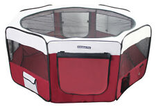 "62"" Portable Puppy Pet Dog Soft Tent Playpen Folding Crate Pen New - Burgundy"