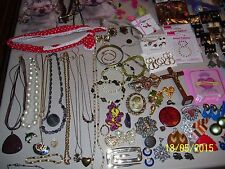 BIG LOT OF JEWELRY, 12 PINS, 45 PIERCED & 13 CLIP EARRINGS, 10 NECKLACES, GLOVES