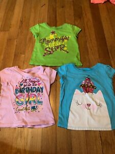 Children's Place StarKitten Birthday Green Blue Purple Top Lot 18-24 Months