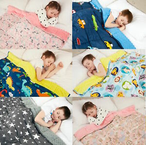 Weighted Blanket KIDS Child Size 100% Cotton With Soft Sensory Minky Dot Reverse