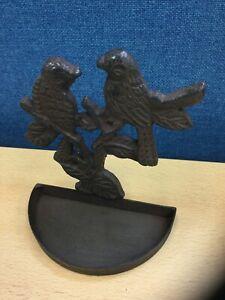 Medium Cast Iron Brown Wild Bird Feeder Dish Garden Antique Ornament