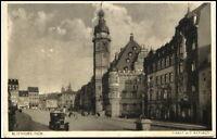 ALTENBURG Thüringen 1928 Auto Strassen Partie mit Markt und Rathaus AK gelaufen