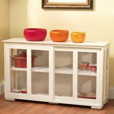 China Cabinet Hutch Stackable Storage Buffet Sliding Glass Doors Curio White New