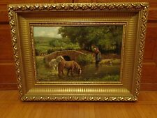 Antique Late 19th.c Landscape Oil Painting, Scene of a Woman, Horses & Stream
