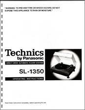 Technics SL-1350 Turntable Owners Manual