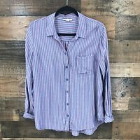 Beach Lunch Lounge Women's Blue & Red Stripe Soft Rayon Lyocell Button Up Shirt