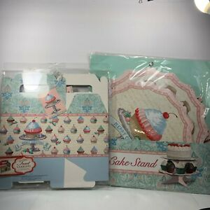 Punch Studio Cupcake Cake Stand & 4 Folding Boxes Merry Christmas Pink Blue New