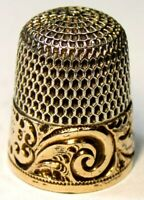 "Antique Simons Bros Gold Band Sterling Silver Thimble  ""Scrolls"" ""RRM""  C1880s"