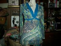 ANTHROPOLOGIE SWEET PEA Stacy Frati Sensational Blue+Green  Blouse Size S