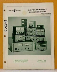 Hewlett Packard 1972 DC Power Supply Selection Guide (Catalog).