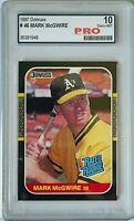 MARK MCGWIRE 1987 DONRUSS RATED ROOKIE CARD #46 PRO GRADED 10 OAKLAND ATHLETICS
